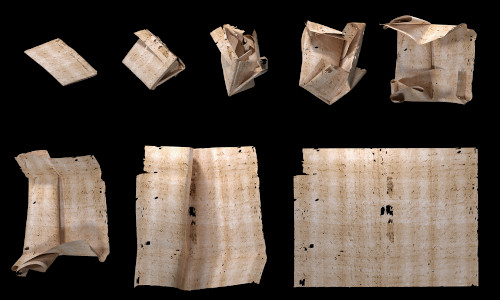 The computer-generated unfolding sequence of a sealed letter from the Brienne Collection, a rare cache of 300-year-old undelivered messages found inside a European postmaster's trunk.